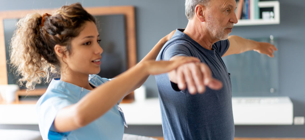 Senior Helper Gives Physical Therapy