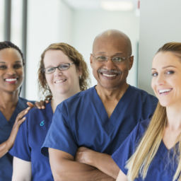 Team of multi-ethnic medical professionals